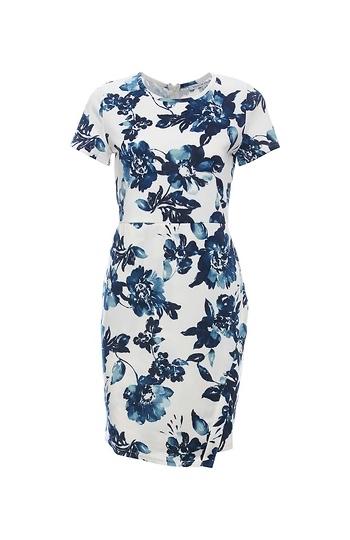 Floral Short Sleeve Sheath Dress Slide 1