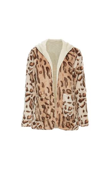 CoffeeShop Hooded Leopard Print Fleece Jacket Slide 1