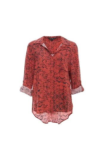 Buttoned Front Rolled Sleeves Top Slide 1