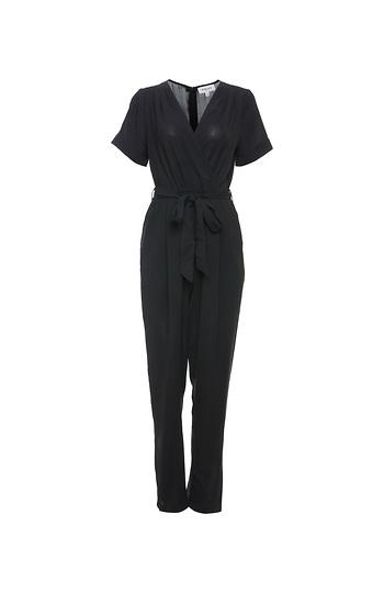 Short Sleeve Tie Waist Woven Jumpsuit Slide 1