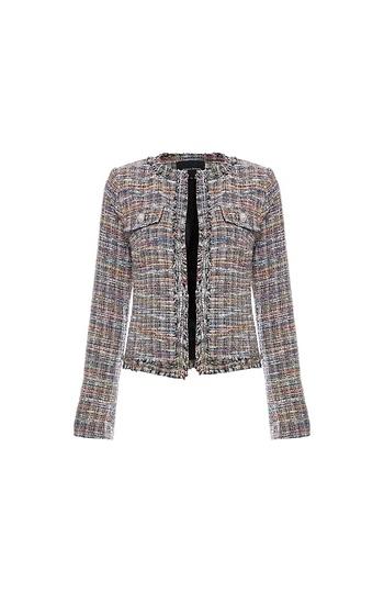 Multicolor Open Front Tweed Jacket Slide 1