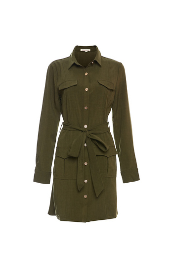 Buttoned Front Long Sleeve Cargo Dress Slide 1
