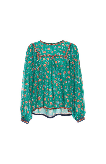 Long Sleeve Printed Top with Crochet Inserts Slide 1