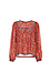 Long Sleeve Printed Top with Crochet Inserts Thumb 1