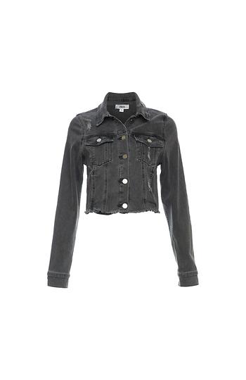 Just Black Frayed Cropped Denim Jacket Slide 1
