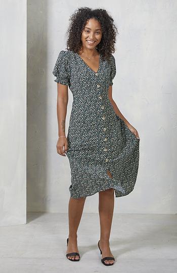 Buttoned Front Short Sleeve Printed Dress Slide 1