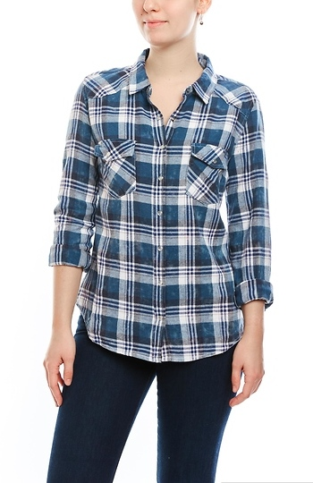 Snap Front Long Sleeve Plaid Top Slide 1