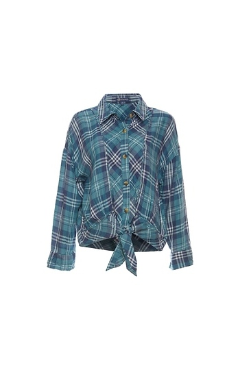 Democracy Button Up Front Tie Plaid Top Slide 1