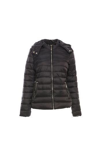 Fur Lined Zip Up Quilting Jacket w/ Hood Slide 1