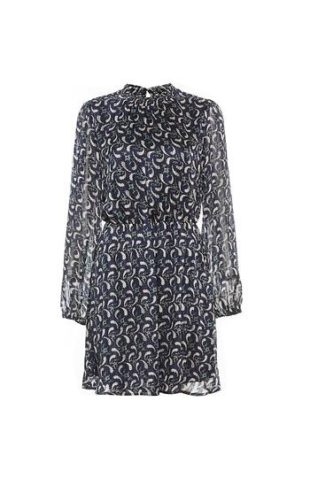 Mock Neck Elastic Waist Long Sleeve Dress Slide 1