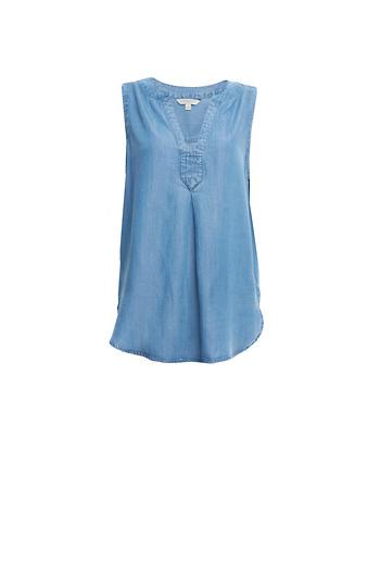 Liverpool Mandarin Collar Sleeveless Shirt Slide 1