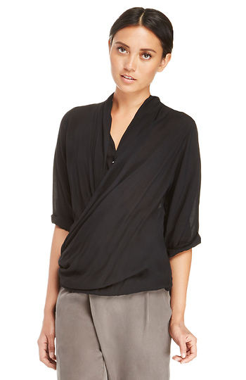 Faux Wrap Gauzy Blouse Slide 1