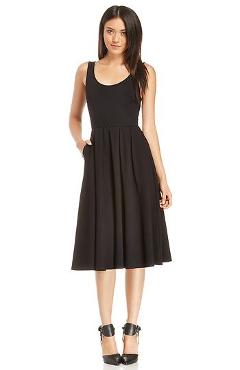 56078477941 Pleated A-Line Midi Dress in Black XS