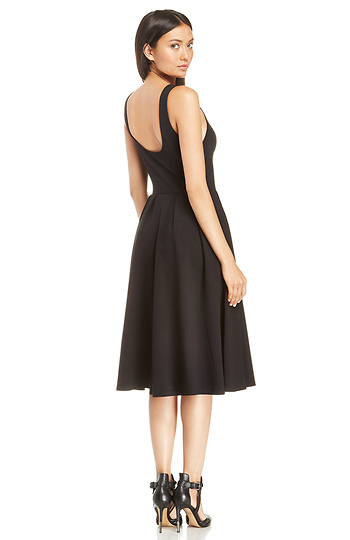 30e7863bdd Pleated A-Line Midi Dress in Black XS