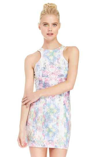 Spray Dye Bodycon Dress In Floral Multi Dailylook