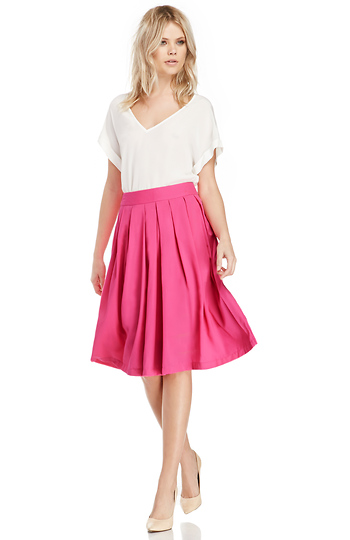 A-Line Pleated Midi Skirt Slide 1