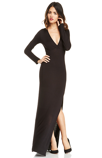 Plunging Jersey Knit Maxi Slide 1