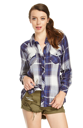 Rails Kendra Tencel Plaid Shirt Slide 1