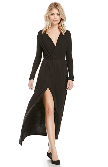 Jersey Knit Long Sleeve Maxi Dress Slide 1