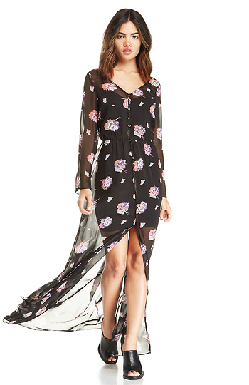 Sheer Floral Button Down Maxi Dress Slide 1