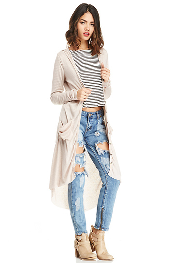 DAILYLOOK Ribbed Knit Hooded Cardigan Slide 1