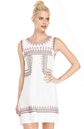 Sleeveless Embroidered Shift Dress Slide 1