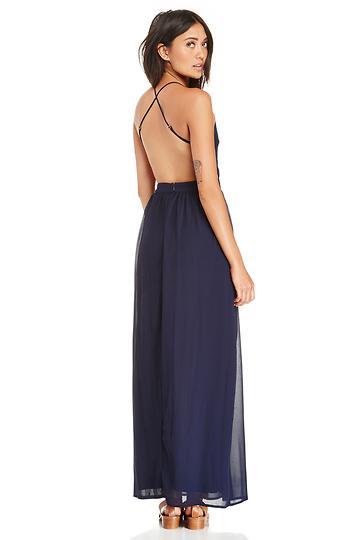 Backless Chiffon Maxi Dress Slide 1