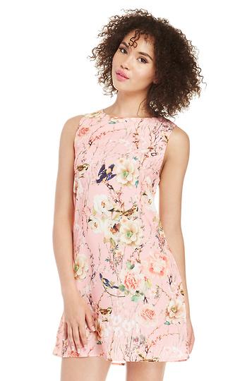 Glamorous Floral and Bird Print Shift Dress Slide 1