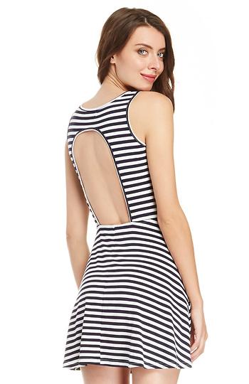 Glamorous Stripe Open Back Skater Dress Slide 1