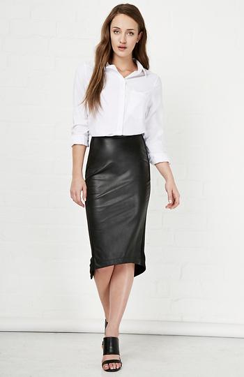 Basquiat Vegan Leather Pencil Skirt Slide 1