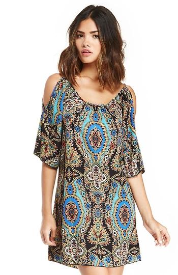 Exotic Print Cold Shoulder Dress Slide 1
