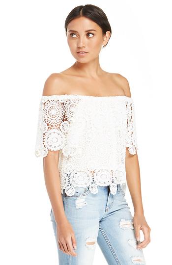 9128d3ab586 Nightcap Carmen Crochet Top in Ivory   DAILYLOOK