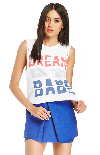 The Laundry Room American Dream Babe Thrashed Crop Muscle Tee Slide 1