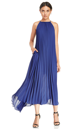 Line & Dot Pleated Maxi Dress Slide 1