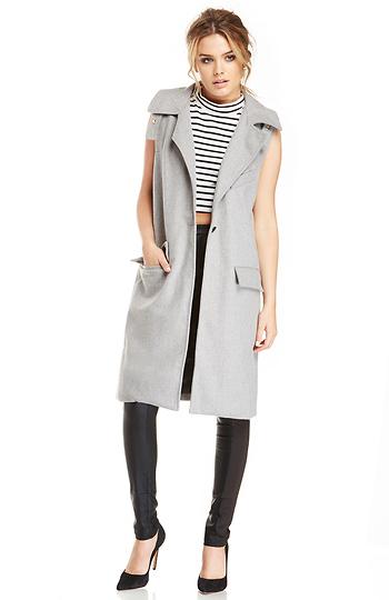 J.O.A. Woolen Sleeveless Coat Slide 1