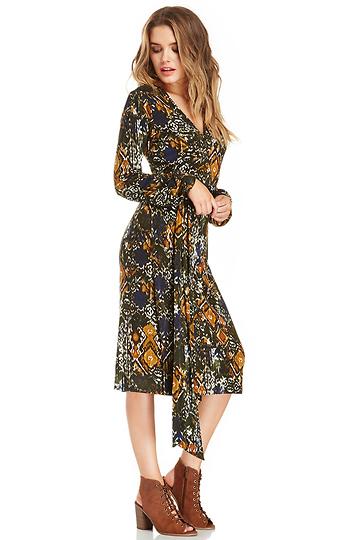 DAILYLOOK Printed Jersey Knit Wrap Dress Slide 1