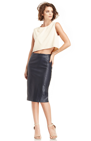 Blaque Label Vegan Leather Pencil Skirt Slide 1