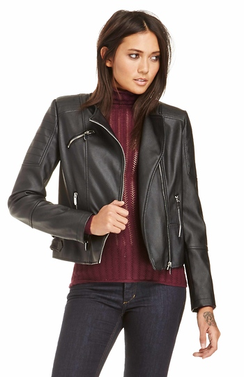 Glamorous Vegan Leather Moto Jacket Slide 1