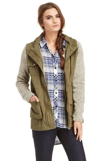 Olive & Oak Sweater Sleeve Cotton Military Jacket Slide 1
