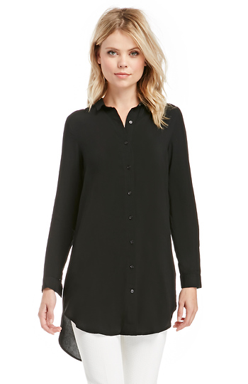 Classic Woven Button Down Tunic Slide 1