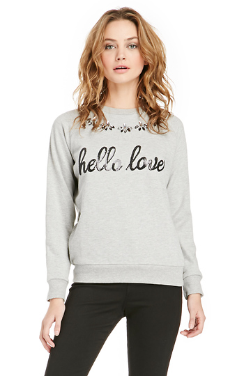 Lovers + Friends Hello Lover Sequin Graphic Pullover Slide 1