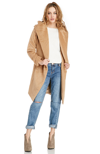 Glamorous Hooded Faux Fur Coat Slide 1