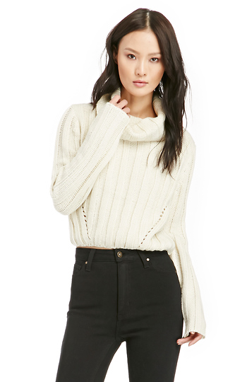 J.O.A. Funnel Neck Cropped Cable Sweater Slide 1