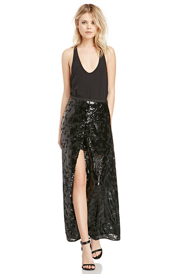 Line & Dot Linda Sequin Slit Skirt Slide 1