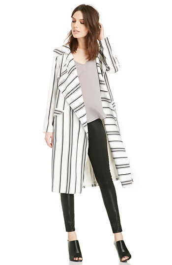 Cameo Real Talk Stripe Trench Coat Slide 1