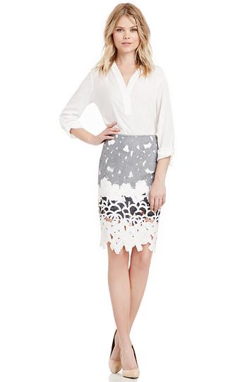 J.O.A Floral Laser Cut Skirt Slide 1