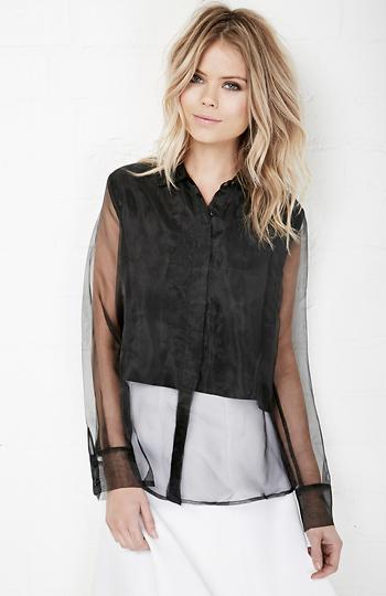 9b374a17751f JOA Collar Sheer Dress Shirt in Black XS - S