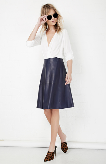 f28153579 MUUBAA Limited Falda Flared Leather Skirt in Navy   DAILYLOOK