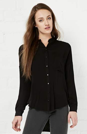 High Low Button Down Shirt Slide 1