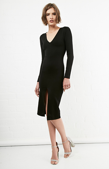 Long Sleeve Bodycon Midi Dress Slide 1